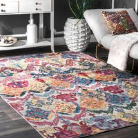 nuLoom Traditional Vibrant Abstract Floral Waves Multicolor Rug (9' x 12')
