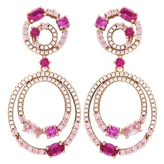 Luxiro Sterling Silver Rose Gold Finish Lab-created Ruby with Cubic Zirconia Double Open Circle Earrings - White