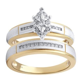 14KYellow and White Gold 1/5cttw Engagement and Wedding Ring Set - White I-J|https://ak1.ostkcdn.com/images/products/18006992/P24177405.jpg?impolicy=medium