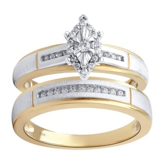 14KYellow and White Gold 1/5cttw Engagement and Wedding Ring Set - White I-J