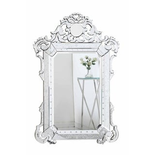 Venetian Collection Transitional Clear-finished Wood and Beveled Glass 39.5-inch Wall Mirror