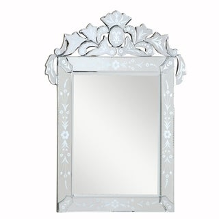 Venetian Collection Transitional Clear-finished Wood and Beveled Glass 39-inch Wall Mirror