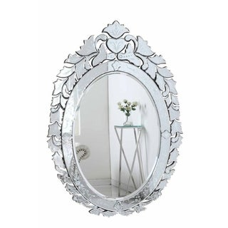 Venetian Collection Transitional Clear-finished Wood and Beveled Glass 32.75-inch Wall Mirror