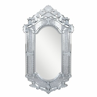 Venetian Collection Transitional Clear-finished Wood and Beveled Glass 27.6-inch Wall Mirror