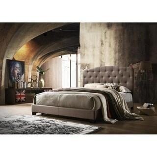 Isabella Brown Linen Upholstered Bed