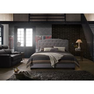 Ava Grey Linen Upholstered Bed