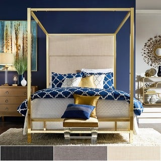 Evie Gold Metal Canopy Bed With Linen Panel Headboard By INSPIRE Q Bold