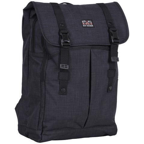 Ben Sherman Heathered Navy Dual Compartment Flapover 15-inch Laptop Backpack