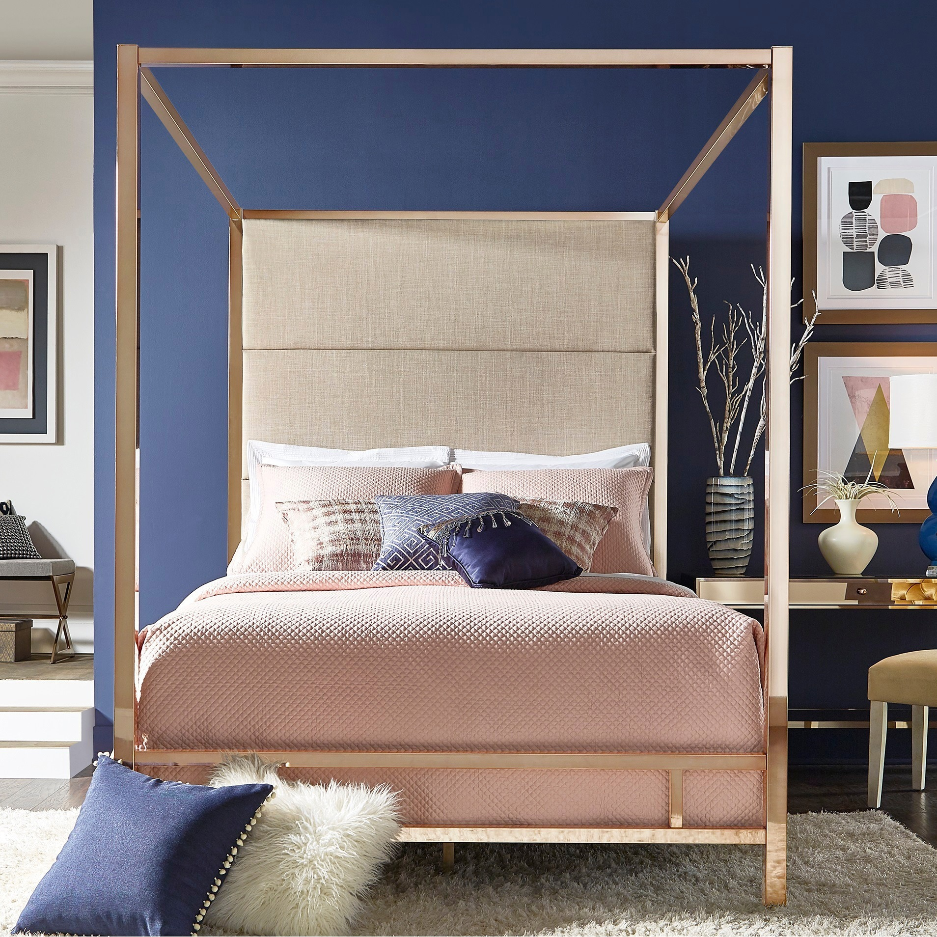 Evie Champagne Gold Metal Canopy Bed With Linen Panel Headboard By Inspire Q Bold Overstock 18007280