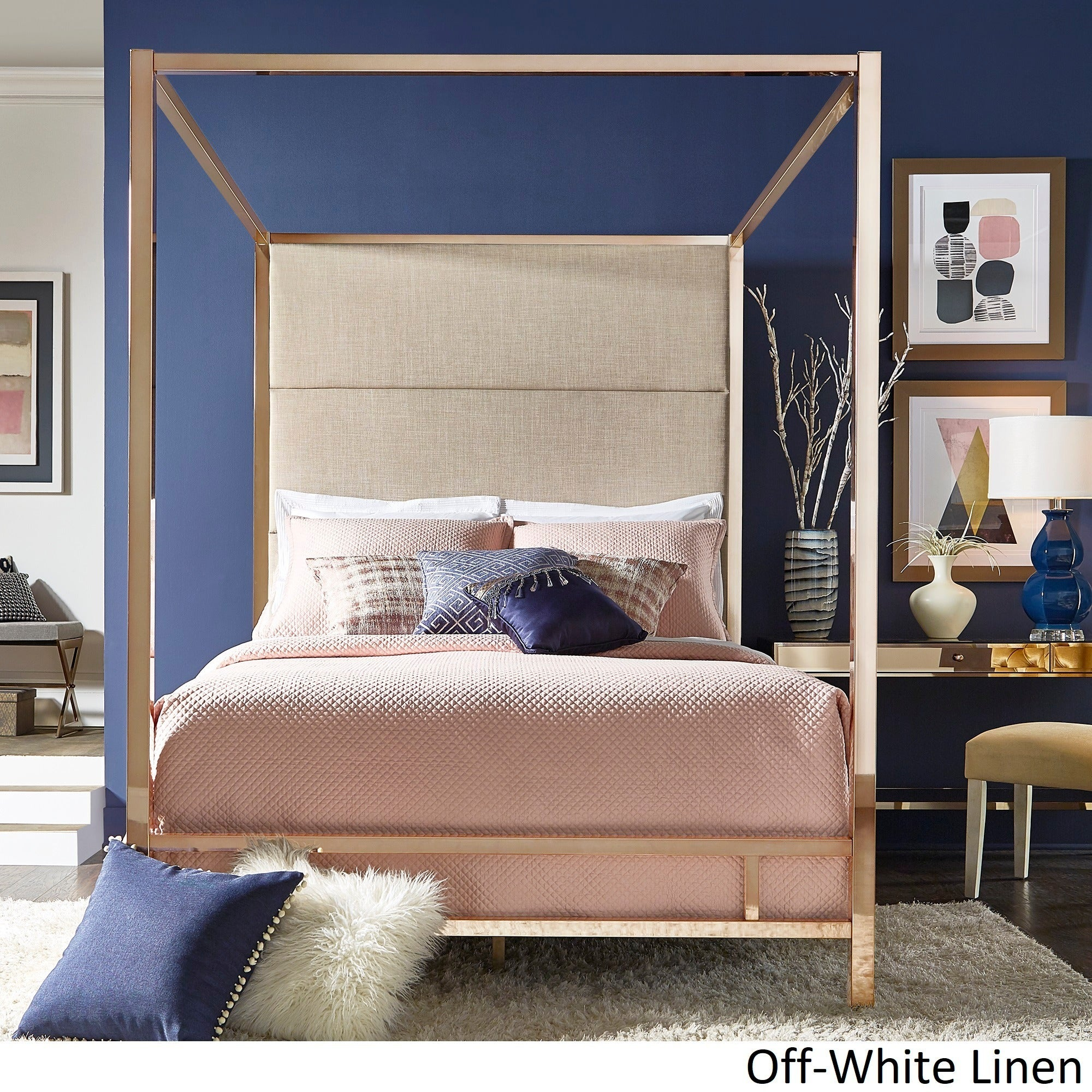 High Quality Evie Champagne Gold Metal Canopy Bed With Linen  Ideas