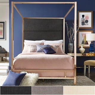 evie champagne gold metal canopy bed with linen panel headboard by inspire q bold