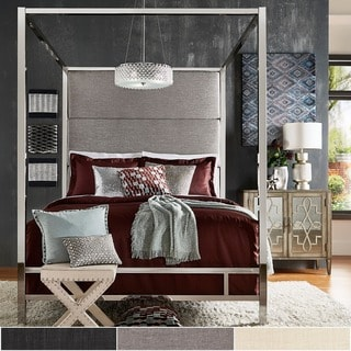Evie Chrome Metal Canopy Bed with Linen Panel Headboard by iNSPIRE Q Bold