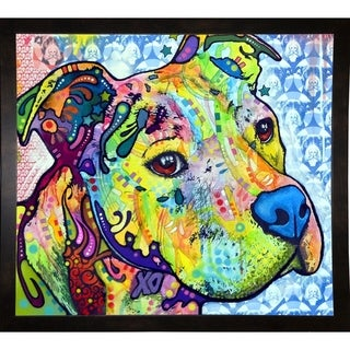 "Thoughtful Pit Bull This Years Love 2013 Part 2 Framed Print 25.5""x28.5"" by Dean Russo (Option: Clear)"
