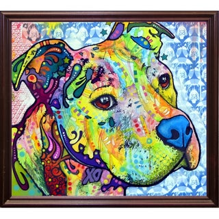 "Thoughtful Pit Bull This Years Love 2013 Part 2 Framed Print 25.5""x28.5"" by Dean Russo (Option: Red - cherry grande - Wood)"