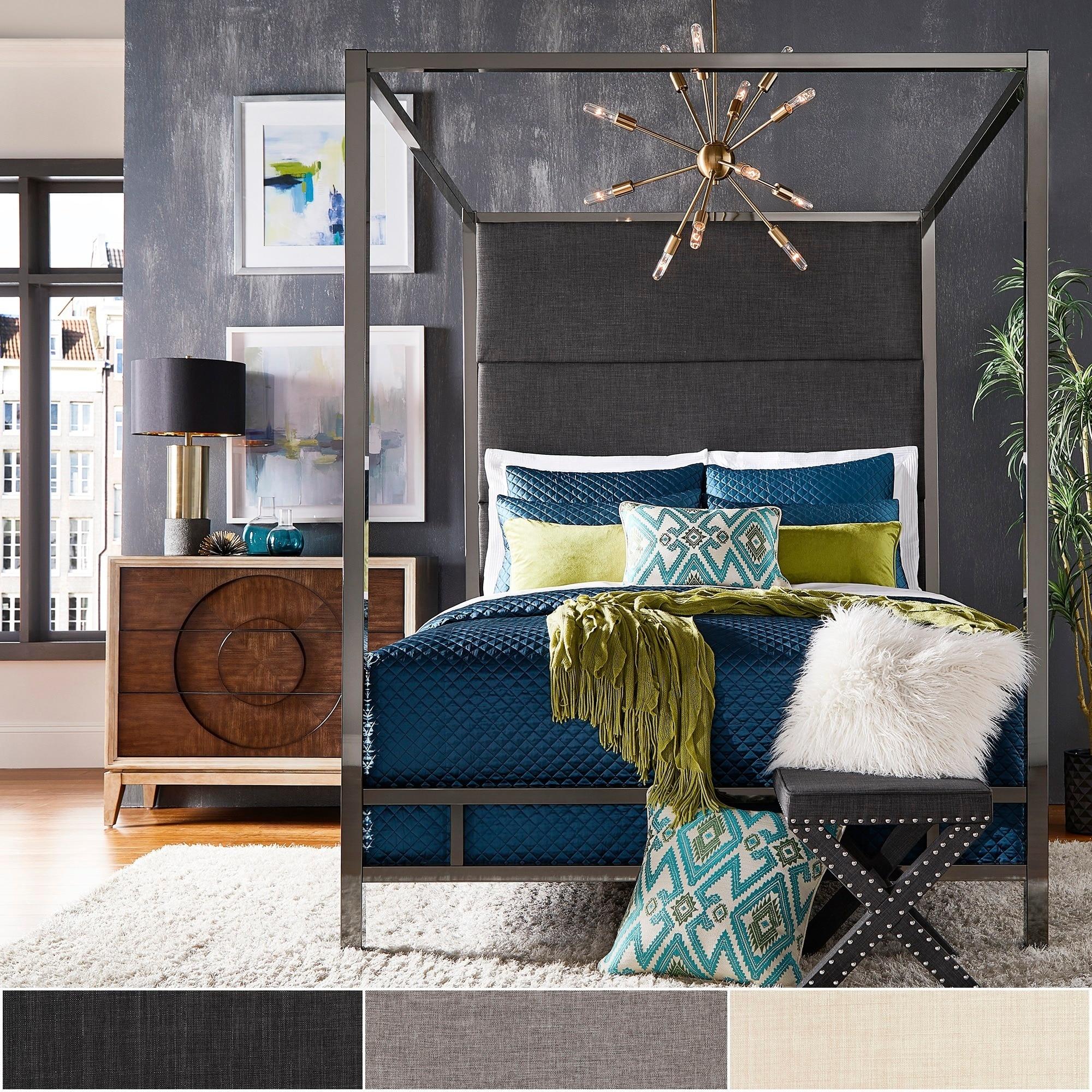 Evie Black Nickel Metal Canopy Bed With Linen Panel Ebay