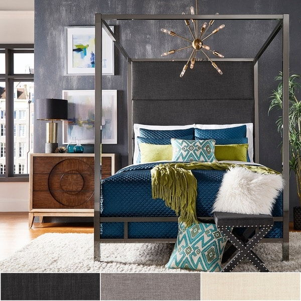 Evie Black Nickel Metal Canopy Bed with Linen Panel Headboard by iNSPIRE Q Bold & Evie Black Nickel Metal Canopy Bed with Linen Panel Headboard by ...