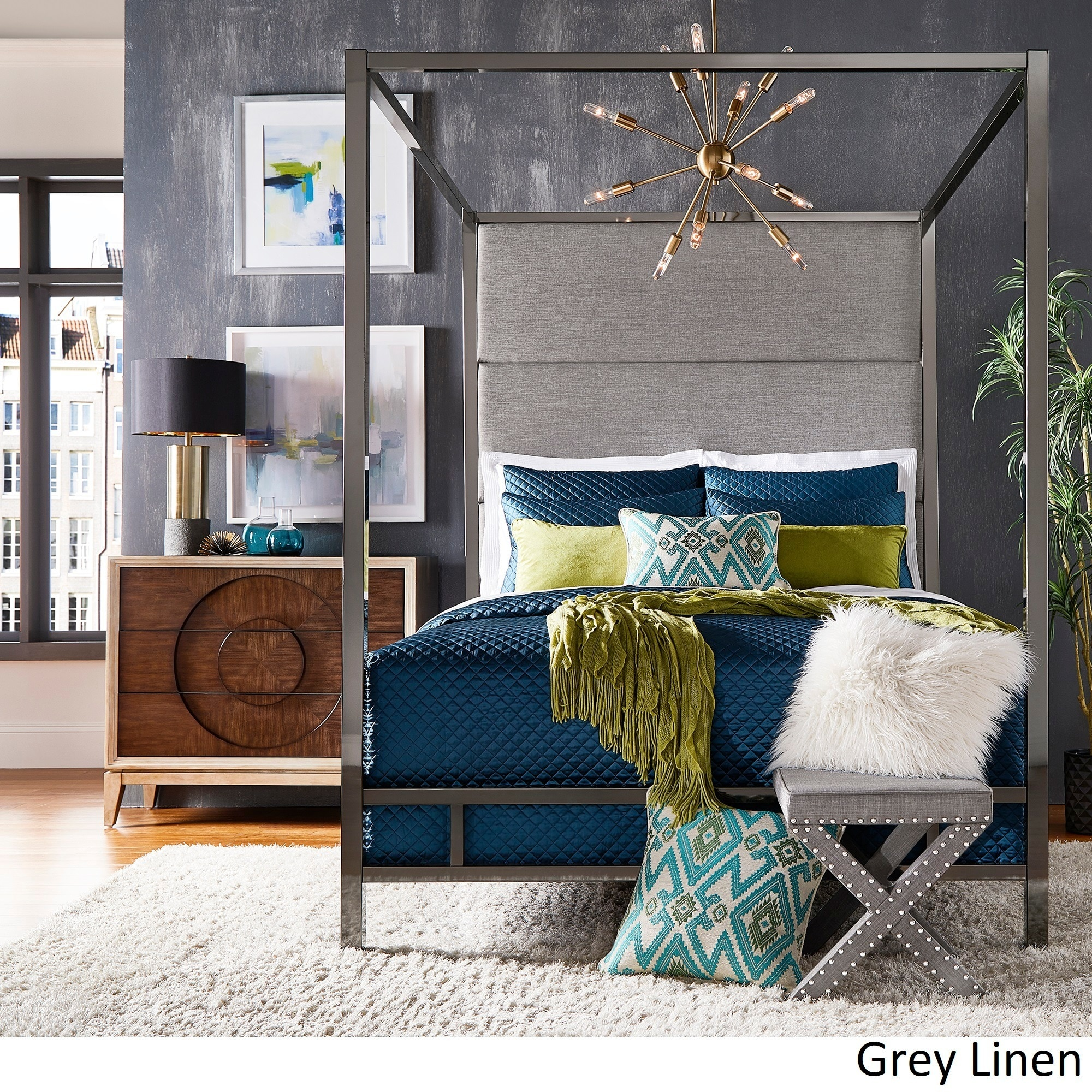 Details about Evie Black Nickel Metal Canopy Bed with Linen Panel Headboard by iNSPIRE Q Bold & Evie Black Nickel Metal Canopy Bed with Linen Panel Headboard by ...