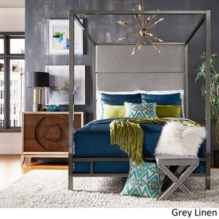 Evie Black Nickel Metal Canopy Bed with Linen Panel Headboard by iNSPIRE Q Bold