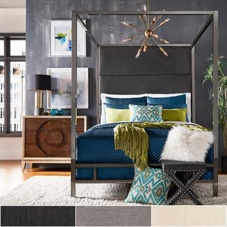 Evie Black Nickel Metal Canopy Bed with Linen Panel Headboard by iNSPIRE Q Bold|https://ak1.ostkcdn.com/images/products/18007416/P24177735.jpg?impolicy=medium