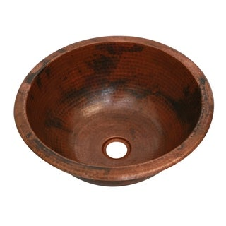 Unikwities 13.5 X 5 inch Round Undermount Copper Sink in Fired Finish