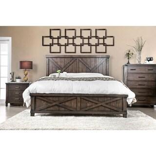 Furniture of America Hilande Rustic Farmhouse Dark Walnut Bed