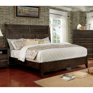 Furniture of America Ligg Rustic Walnut Solid Wood Tapered Legs Bed