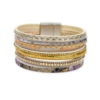 Handmade Saachi Venetian Multi Leather Bracelet (China) - GOLD
