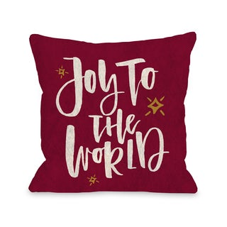 Joy To The World Stars - Red  Throw 16 or 18 Inch Throw Pillow by One Bella Casa