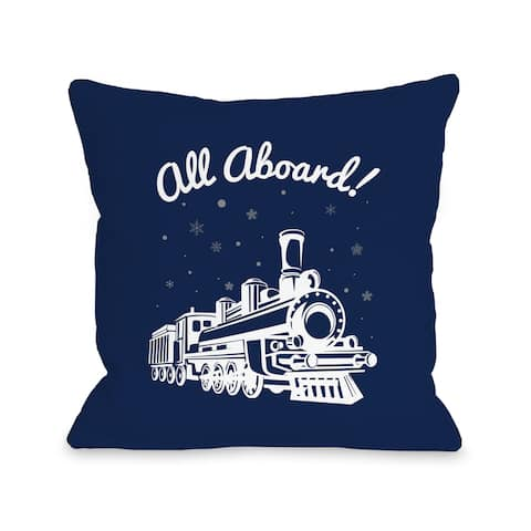All Aboard Train - Navy Throw 16 or 18 Inch Throw Pillow by One Bella Casa