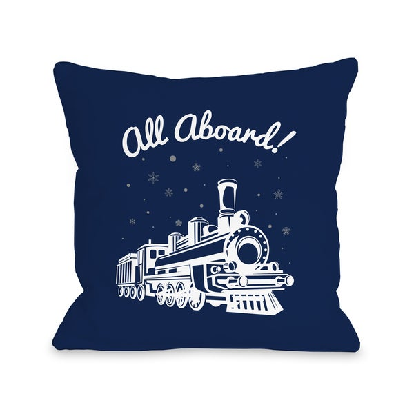 All Aboard Train - Navy Throw 16 or 18 Inch Throw Pillow by One Bella Casa. Opens flyout.