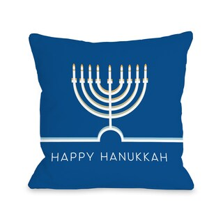 Happy Hanukkah Minimal - Blue Throw 16 or 18 Inch Throw Pillow by OBC