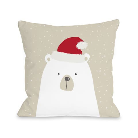 Santa Polar Bear - White Throw 16 or 18 Inch Throw Pillow by OBC