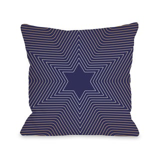 Star Of David - Blue Throw 16 or 18 Inch Throw Pillow by OBC