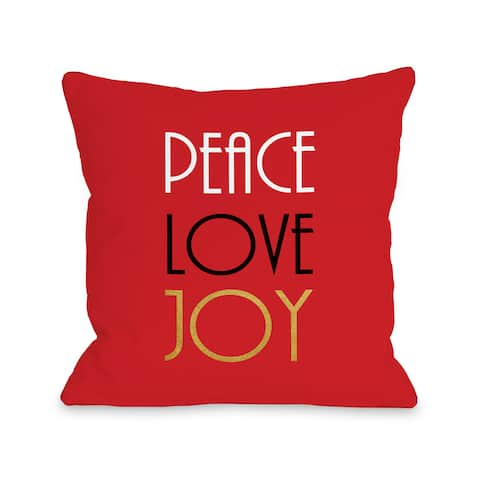 Peace Love Joy Gold Foil - Red Throw 16 or 18 Inch Throw Pillow by OBC