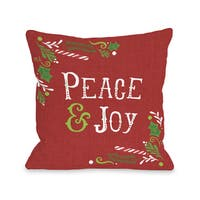 Peace and Joy - Red  Throw 16 or 18 Inch Throw Pillow by Pen & Paint