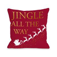 Jingle All The Way Sleigh Gold Foil - Red  Throw 16 or 18 Inch Throw Pillow by OBC