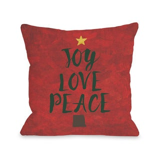 Joy Love Peace- Red Multi  Throw 16 or 18 Inch Throw Pillow by OBC