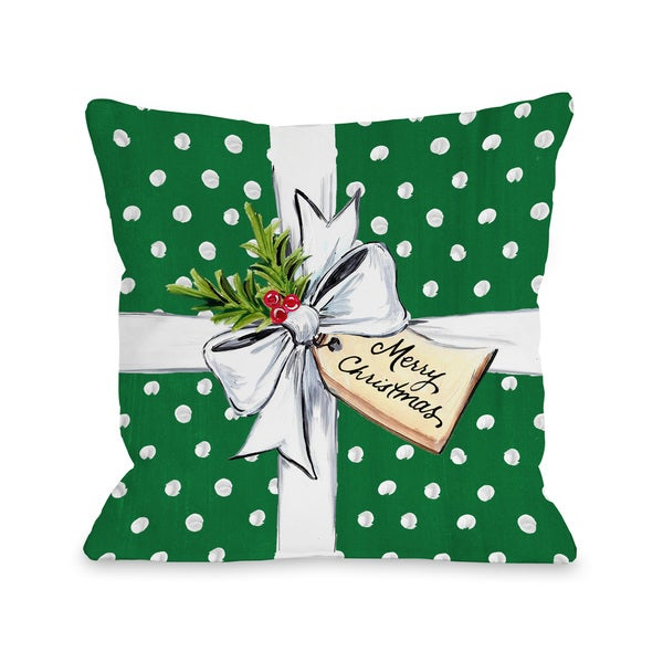 Tremendous Polka Dot Bow Green Throw 16 Or 18 Inch Throw Pillow By Timree Gold Machost Co Dining Chair Design Ideas Machostcouk