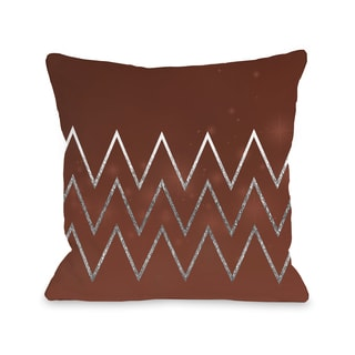 Holiday Chevron - Berry  Throw 16 or 18 Inch Throw Pillow by OBC