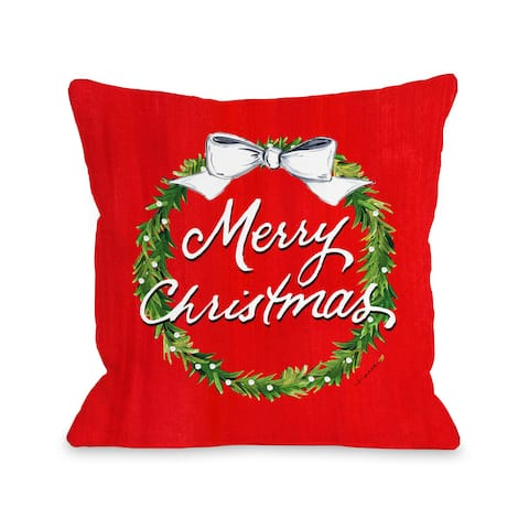Merry Christmas Wreath - Red Throw 16 or 18 Inch Throw Pillow by Timree Gold