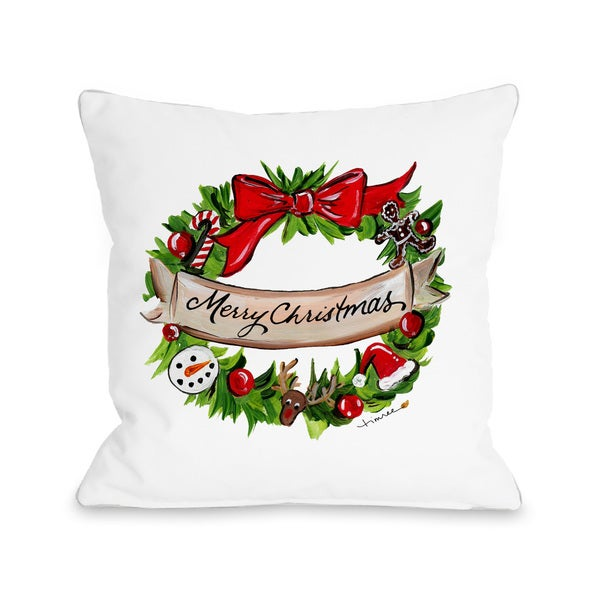 Merry Christmas Decorative Wreath - Multi Throw 16 or 18 Inch Throw Pillow  by Timree Gold