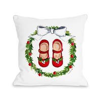 Mary Janes Wreath - Multi  Throw 16 or 18 Inch Throw Pillow by Timree Gold