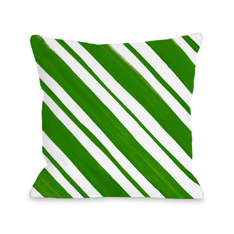 Candy Stripe - Green Throw 16 or 18 Inch Throw Pillow by Timree Gold