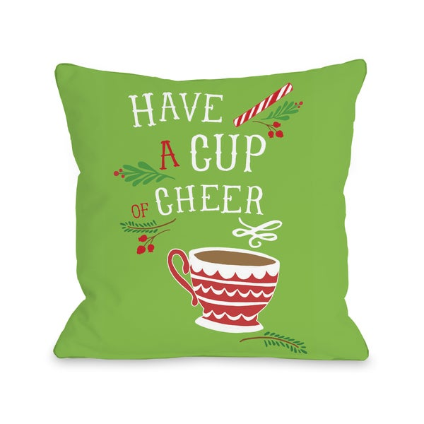 Have a Cup of Cheer - Green Red Throw 16 or 18 Inch Throw Pillow by Pen & Paint
