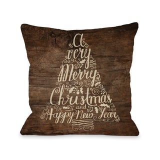 Typography Tree Wood - Brown Throw 16 or 18 Inch Throw Pillow by OBC