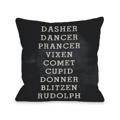 Reindeer Names - Black Throw 16 or 18 Inch Throw Pillow by OBC