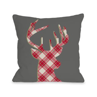 Deer Silhouette Plaid - Gray  Throw 16 or 18 Inch Throw Pillow by OBC