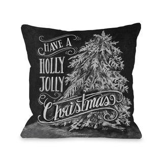 Holly Jolly Christmas Tree  Throw 16 or 18 Inch Throw Pillow by Lily & Val