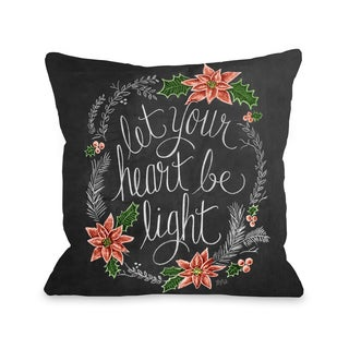 Let Your Heart Be Light - Gray Red  Throw 16 or 18 Inch Throw Pillow by Lily & Val