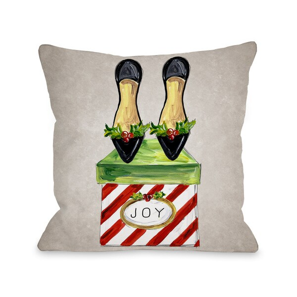 Glitzmas Shoes - Grey Multi Throw 16 or 18 Inch Throw Pillow by Timree. Opens flyout.